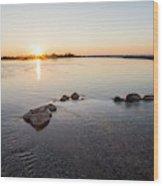Platte River At Dusk Wood Print