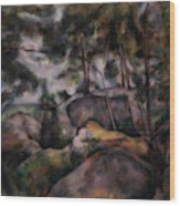 Rocks In The Forest  Wood Print