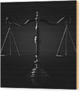 Scales Of Justice Dramatic Wood Print