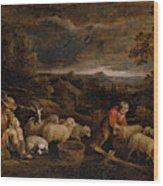 Shepherds And Sheep  Wood Print