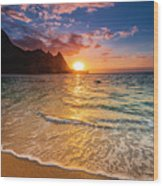 Sunset Over The Na Pali Coast Wood Print