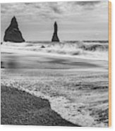 The Dramatic Black Sand Beach Of Reynisfjara. Wood Print