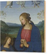 The Virgin And Child With An Angel  Wood Print