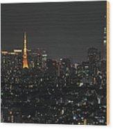 Tokyo Tower And Tokyo Skytree Wood Print