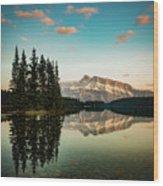Two Jack Lake And Mount Rundle Wood Print