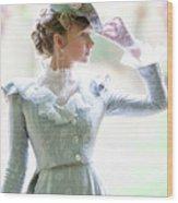 Victorian Woman In The Garden Wood Print