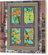 Antique Orchids Quatro On Rusted Metal And Weathered Wood Plank Wood Print
