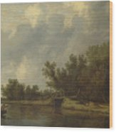 A River Landscape With Fishermen  Wood Print