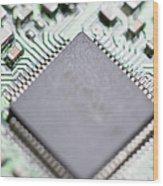 Close-up Of A Circuit Board Wood Print