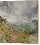 Digital Watercolor Painting Of Landscape Image Of View From Prec Wood Print