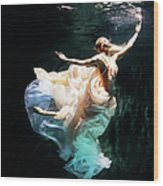 Female Dancer Performing Under Water Wood Print
