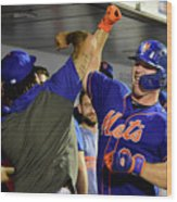 Miami Marlins V New York Mets - Game Two Wood Print