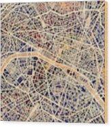 Paris France City Map Wood Print