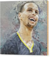 Portrait Of Stephen Curry Wood Print