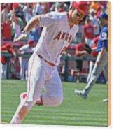 Texas Rangers V Los Angeles Angels Of 4 Wood Print