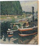 Barges At Pontoise  Wood Print