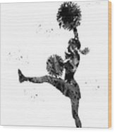 Cheerleader With Pompoms Wood Print