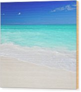 Clean White Caribbean Beach With Blue Wood Print