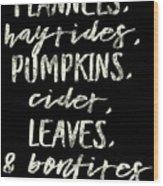 Flannels Hayrides And Pumpkins Fall Tshirt Wood Print