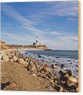 Lighthouse At Montauk Point, Long Wood Print