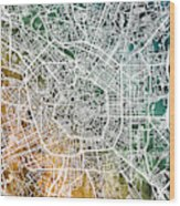 Milan Italy City Map Wood Print