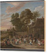 Peasants Dancing And Feasting  Wood Print