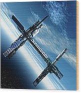 Space Station, Artwork Wood Print