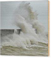 Stunning Dangerous High Waves Crashing Over Harbor Wall During W Wood Print
