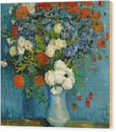 Vase With Cornflowers And Poppies Wood Print