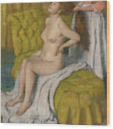 Woman Having Her Hair Combed  Wood Print