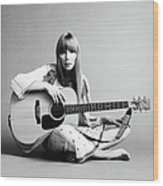 Portrait Of Joni Mitchell Wood Print