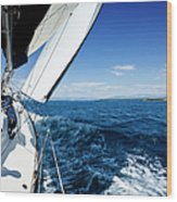 Sailing In The Wind With Sailboat Wood Print