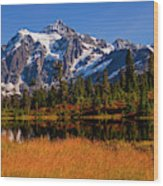 Autumn Colors With Mount Shuksan Wood Print
