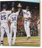 Oakland Athletics V Texas Rangers Wood Print