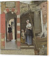 The Courtyard Of A House In Delft  Wood Print
