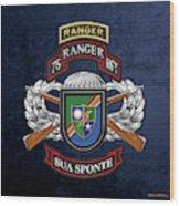 75th Ranger Regiment - Army Rangers Special Edition Over Blue Velvet Wood Print