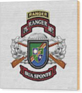 75th Ranger Regiment - Army Rangers Special Edition Over White Leather Wood Print