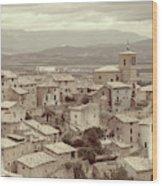 Beautiful Medieval Spanish Village In Sepia Tone Wood Print