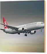 Turkish Airlines Boeing 737-9f2 Wood Print