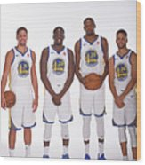 2017-18 Golden State Warriors Media Day Wood Print