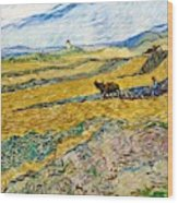 Enclosed Field With Ploughman -  Wood Print