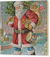 A Bright Christmas Illustration Wood Print