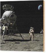 A Cosmonaut On The Moon Wood Print