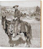 A Cowboy On Horseback, Photo, 19th Century Wood Print