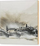 A Crippled Halifax Bomber Lands On The Ice Wood Print