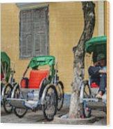 A Cyclo Driver Takes A Nap, In Hoi An, Vietnam. Wood Print