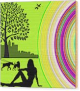 A Day In The Park Wood Print