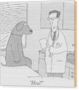 A Doctor Speaks To A Man In A Dog Costume Who Wood Print