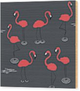 A Flamboyance Of Flamingos  Wood Print