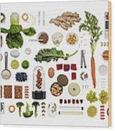A Healthy Diet Food Grid Wood Print